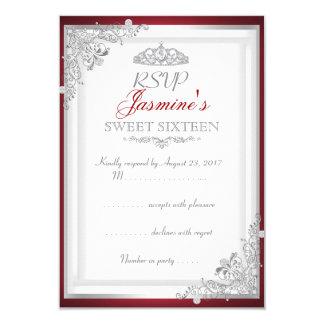 RSVP Red Silver Damask Tiara Sweet 16 Card