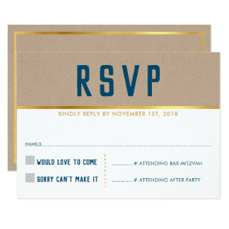 RSVP REPLY CARD smart bold type gold kraft blue