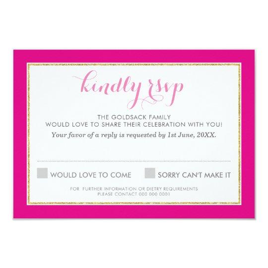 RSVP REPLY RESPONSE chervon pattern gold hot pink Card