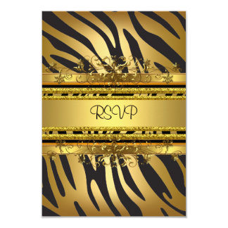 RSVP Reply Response Party Zebra Gold Black Card