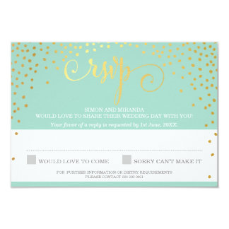 RSVP REPLY stylish rustic mini gold confetti mint Card