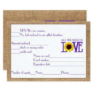 RSVP Response Burlap and Sunflower Purple Card