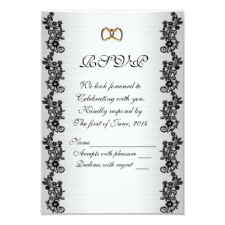 "RSVP response card black and white 3.5"" X 5"" Invitation Card"