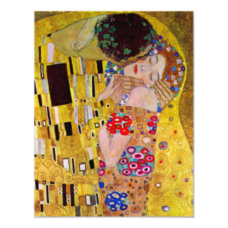 "RSVP Response Card; The Kiss by Gustav Klimt 4.25"" X 5.5"" Invitation Card"