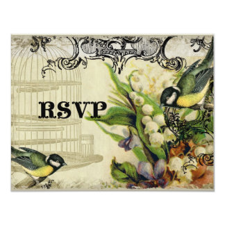 "RSVP Response Card - Yellow Song Bird Cage Floral 4.25"" X 5.5"" Invitation Card"
