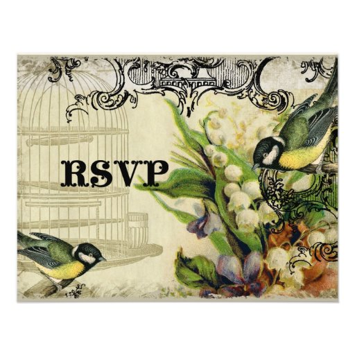 RSVP Response Card - Yellow Song Bird Cage Floral Personalized Invitations