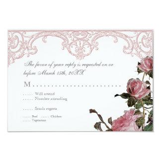RSVP Response Invite Card - Trellis Rose Vintage