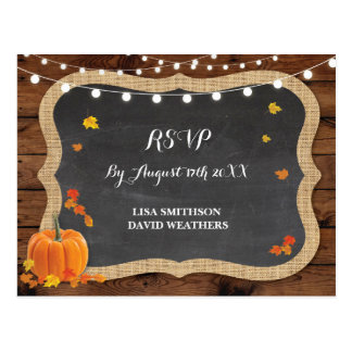 RSVP Response Pumpkin Fall Wedding Postcard