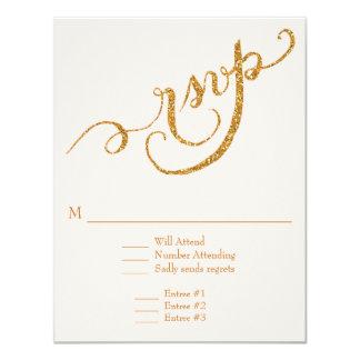 RSVP Response Script Forever in Love Gold Glitter Custom Invitations