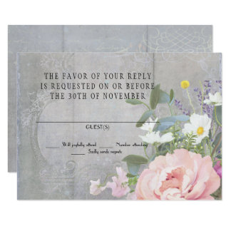 RSVP Response Vintage Rustic Painted Floral Peony Card