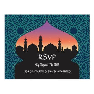 RSVP Response Wedding Postcard Arabian Teal