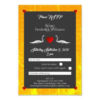 RSVP Romantic Swan Wedding Card