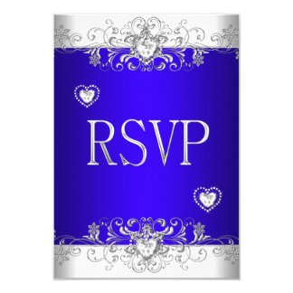 "RSVP Royal blue Wedding White Diamond Hearts 3.5"" X 5"" Invitation Card"