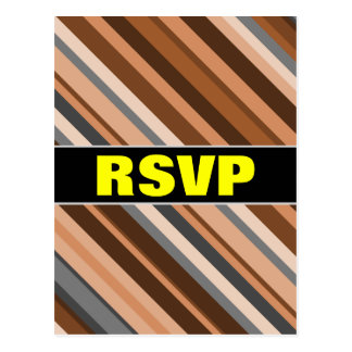 RSVP; Rustic, Earthy Brown, Beige and Grey Stripes Postcard