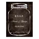 rsvp rustique de mariage de pot de maçon carte postale