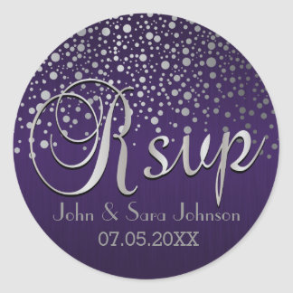 RSVP | Silver Dots and Purple | Personalize Classic Round Sticker