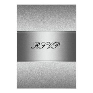 "RSVP Silver Grey Metal Black 21st Birthday 3.5"" X 5"" Invitation Card"