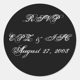 RSVP Sticker with Monogram Wedding Date