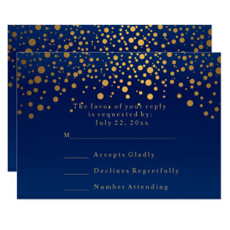 RSVP Stylish Navy Blue & Confetti Gold Dot Wedding Card