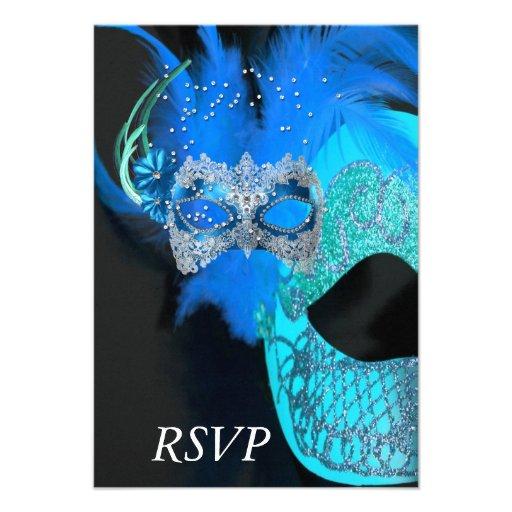 RSVP Teal Blue Black Masks Masquerade Ball Party Custom Invitations