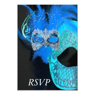 "RSVP Teal Blue Black Masks Masquerade Ball Party 3.5"" X 5"" Invitation Card"