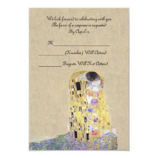 "RSVP ""The Kiss"" Golden Wedding Anniversary Klimt 3.5"" X 5"" Invitation Card"