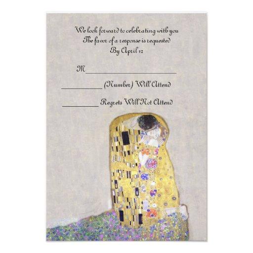 """RSVP """"The Kiss"""" Klimt Art Nouveau Wedding Custom Announcements"""