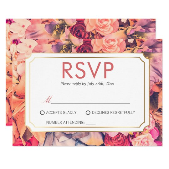 RSVP | Trendy Elegant Floral Wedding Celebration Card