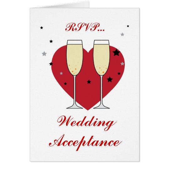RSVP Wedding Acceptance toast glasses card