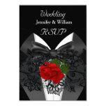 "RSVP Wedding Black White Tuxedo Deep RED Rose 3.5"" X 5"" Invitation Card"