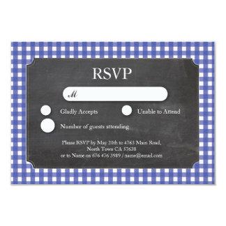 RSVP Wedding Blue Check Chalkboard Cards Invites