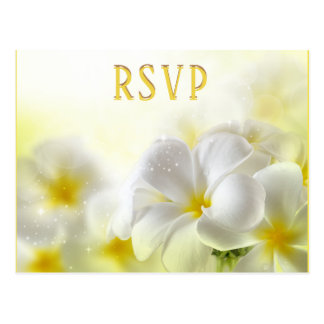 RSVP Wedding Plumeria Yellow white Postcard