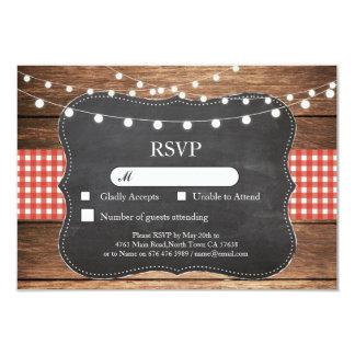RSVP Wedding Red Check Wood Light Cards Invites
