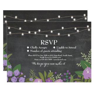 RSVP Wedding Rustic Chalk Floral Cards Invites