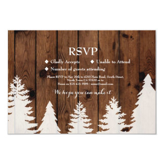 RSVP Wedding Rustic Wood Winter Tree Cards Invites