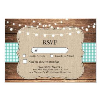 RSVP Wedding Teal Check Wood Light Cards Invites