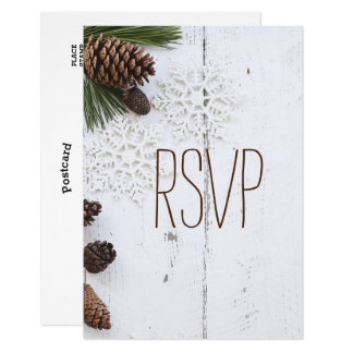 RSVP-Winter Pinecone and Snowflakes Wedding Card