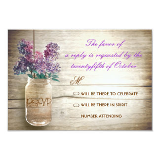 rsvps vintages de mariage de pot de maçon de lilas carton d'invitation 8,89 cm x 12,70 cm