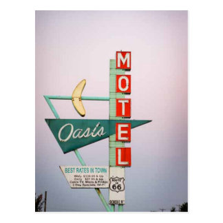 Rt 66 Tulsa Vintage Motel Sign Postcard