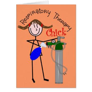 RT Chick O2 Tank and Ambu Bag Stick People Greeting Card