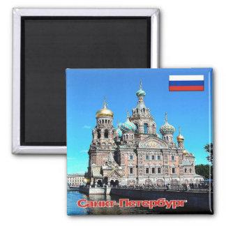 RU - Russia - SAINT PETERSBURG - CHURCH Square Magnet