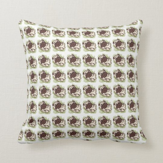Rub My Belly Pug Throw Pillow