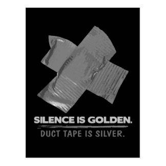 ruban adhésif - la parole est d'argent le silence carte postale