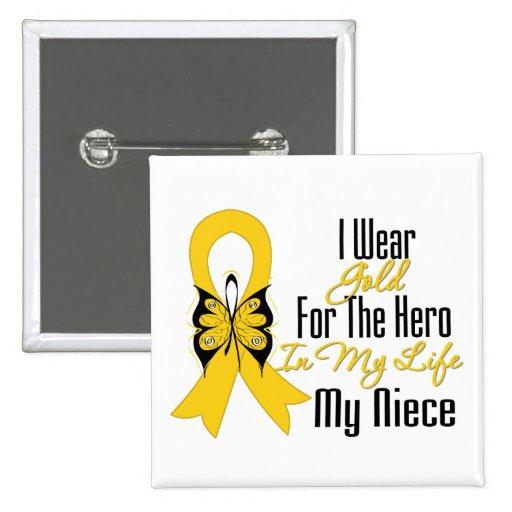Ruban de Cancer d'enfance mon héros ma nièce Badge Avec Épingle