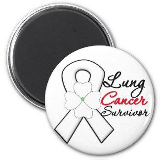 Ruban de fleur de survivant de cancer de poumon magnet rond 8 cm