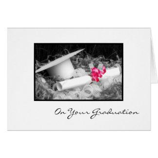 Ruban de rose de diplôme de félicitations d'obtent cartes de vœux