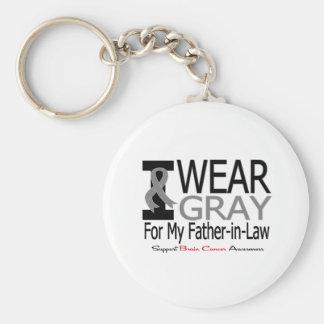 Ruban gris d'usage du cancer du cerveau I mon beau Porte-clé Rond