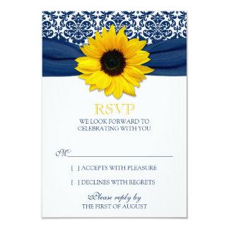 Ruban jaune de damassé de marine de tournesol carton d'invitation 8,89 cm x 12,70 cm