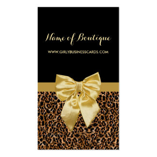 Ruban jaune Girly d'empreinte de léopard élégant Carte De Visite Standard