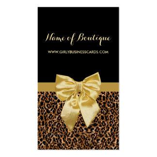 Ruban jaune Girly d'empreinte de léopard élégant Carte De Visite